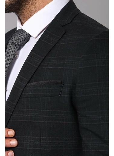 Wessi Wessı Ekose Yelekli Kışlık Takım Elbise Siyah